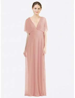 Best Bliss A-Line V-Neck  Short Sleeves Chiffon Bridesmaid Dress Canada