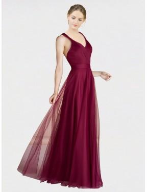 Best Burgundy A-Line V-Neck  Sleeveless Tulle Bridesmaid Dress Canada