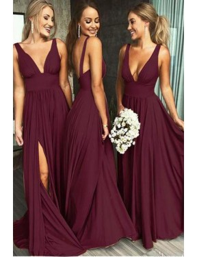 Best Burgundy Gold A-Line Deep V-Neck  Sleeveless Spandex Bridesmaid Dress Canada