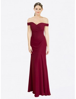 Best Burgundy Mermaid Fit and Flare Off the Shoulder  Sleeveless Chiffon Bridesmaid Dress Canada