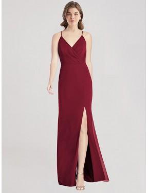Best Burgundy Mermaid V-Neck Spaghetti Straps  Sleeveless Chiffon Bridesmaid Dress Canada