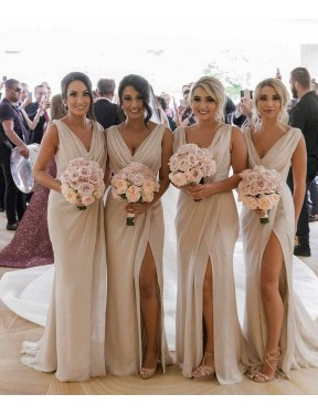 Best Champagne A-Line V-Neck  Sleeveless Chiffon Bridesmaid Dress Canada