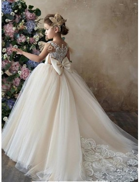 Best Champagne Ball Gown Sweetheart Chapel Train Sleeveless Lace & Tulle Flower Girl Dress Canada