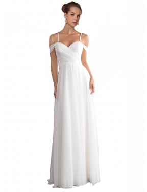 Best Ivory A-Line Off the Shoulder Sweep Train Sleeveless Chiffon Wedding Dress Canada