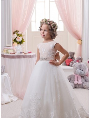 Best Ivory Ball Gown Bateau Chapel Train Sleeveless Lace & Tulle Flower Girl Dress Canada