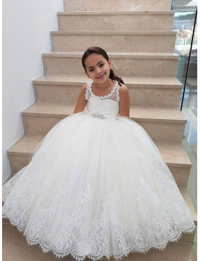 Best Ivory Ball Gown  Lace & Tulle Flower Girl Dress Canada