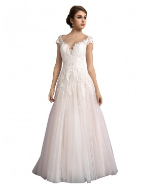 Best Ivory & Champagne A-Line Illusion Cathedral Train Cap Sleeves Tulle Wedding Dress Canada