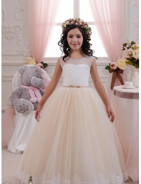 Best Ivory & Champagne Ball Gown Sweetheart  Sleeveless Lace & Tulle Flower Girl Dress Canada