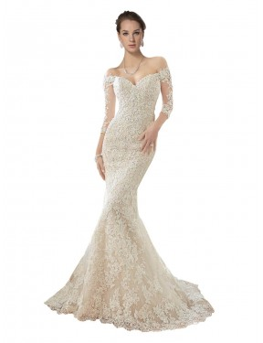 Best Ivory & Champagne Mermaid Off the Shoulder Chapel Train Long Sleeves Lace & Tulle Wedding Dress Canada