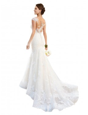 Best White Mermaid Illusion Chapel Train Cap Sleeves Lace Wedding Dress Canada
